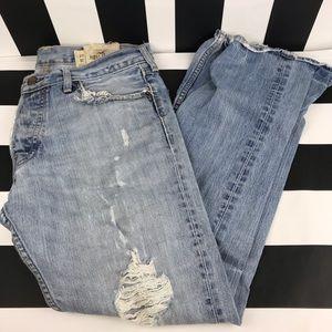 Hollister Light Wash Distressed Straight Leg Jeans